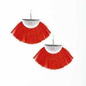 Fox Trap - Red Fringe Earrings